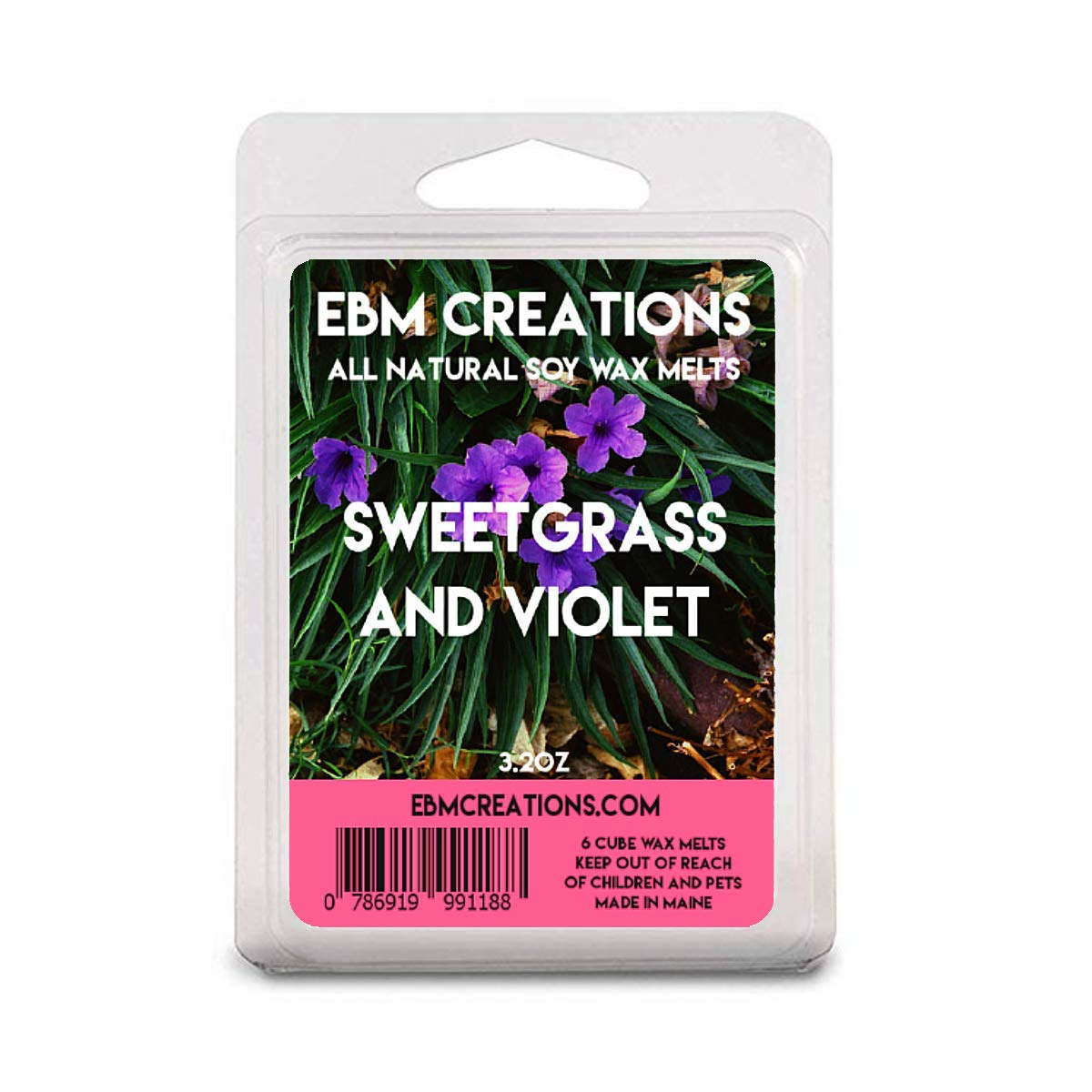 Sweetgrass /& Violet Soy Wax 3oz Clamshell Hand-poured Artisan Wax All Natural Sustainable Paraffin-free Soy Wax
