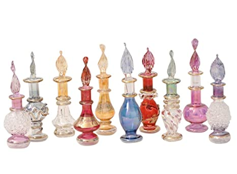 Perfumero, esenciero de Cristal soplado Hecho y Pintado a Mano en Egipto, Mide Entre