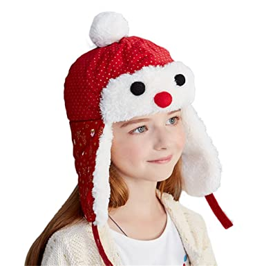 ff7bc5e2beeb4 Kenmont Girls Boys Kids Winter Aviator Hat Novelty Red Christmas ...