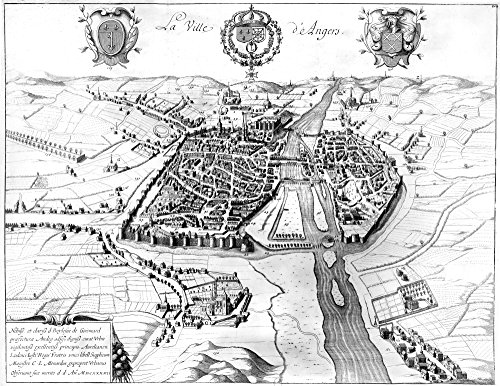 France Walled City 1688 Nthe City Of Angers On The Maine River In North-Western France Line Engraving French 1688 Poster Print by (18 x 24)