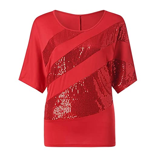 57cdcace OrchidAmor Women Sequin Causel T-Shirt Top Cold Shoulder Blouse Plus ...