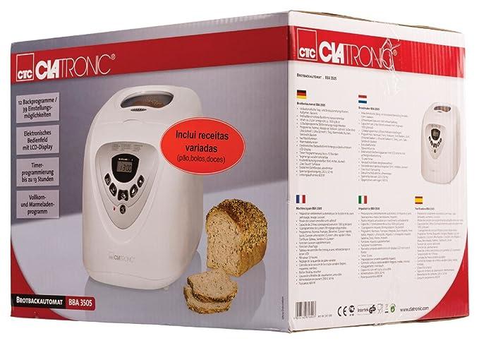 Clatronic BBA 3505 Panificadora programable, Capacidad 1 kg, 12 programas cocción, 39 Posibilidades, 600 W, 2 litros, Plástico, Color blanco