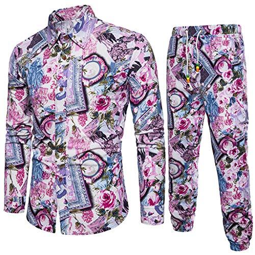 Print Linen Tracksuit Top+Pants Suit Men Business Slim Fit Outfits