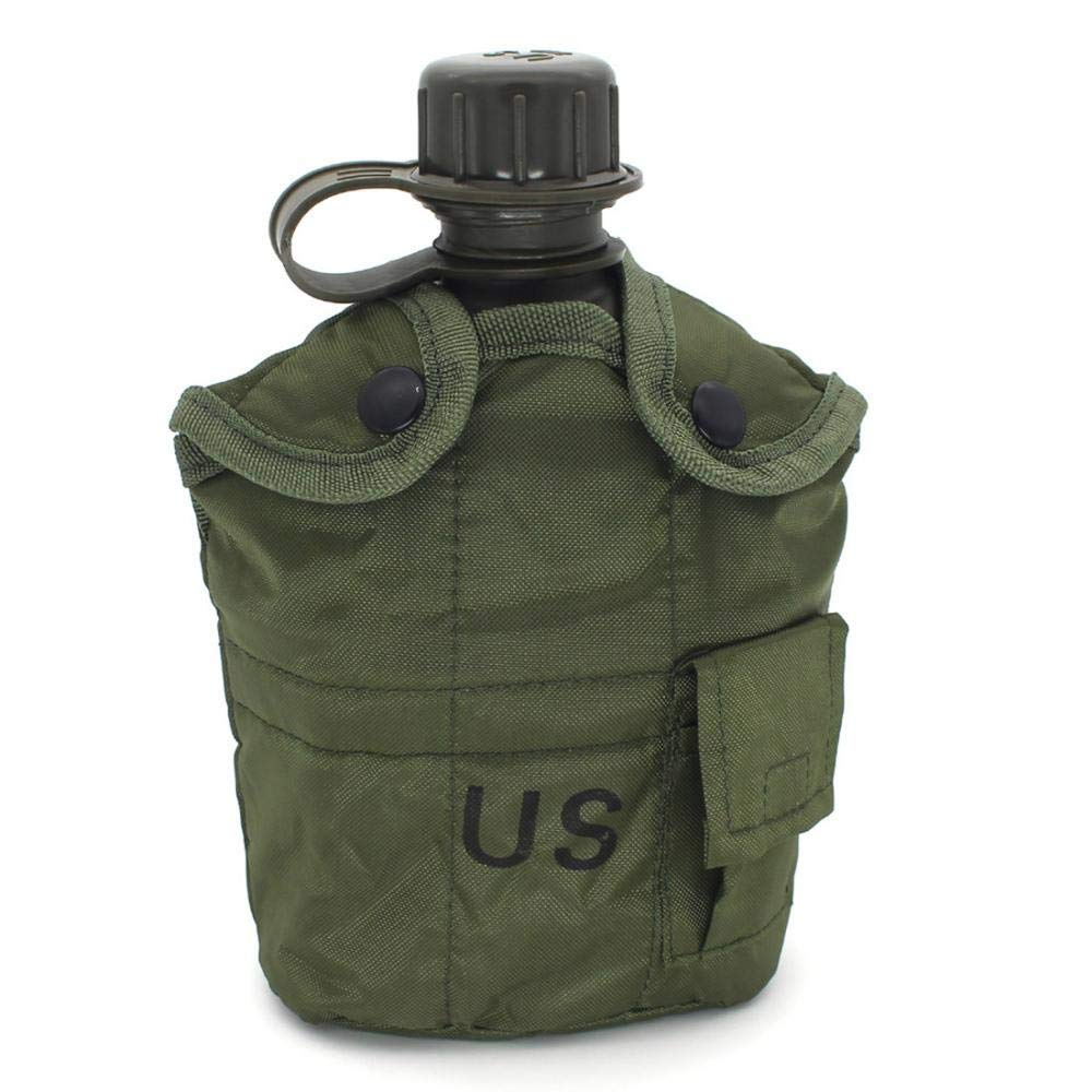 Previously Issued U.S 1 quart Olive Drab Military Canteen Nylon Cover with Never Issued 1 quart Olive Drab Canteen 4 G.I KUGIN