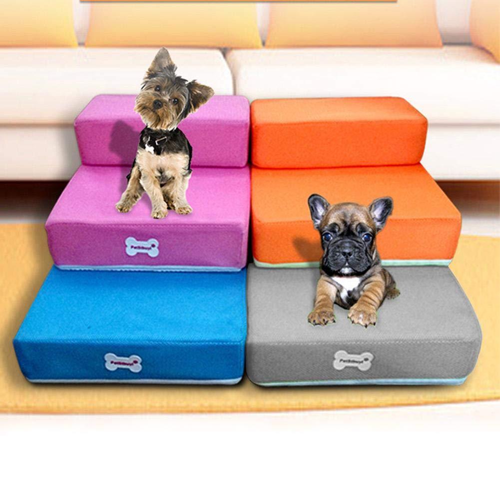 Eternitry Escaleras para Mascotas 2 Pasos Escalera de rampa para Perros con Cremallera Desmontable Lavable Pasos de Rejilla sof/á Espuma Gato Perro Cubierta Plegable Escalera de f/ácil Subida Escalera
