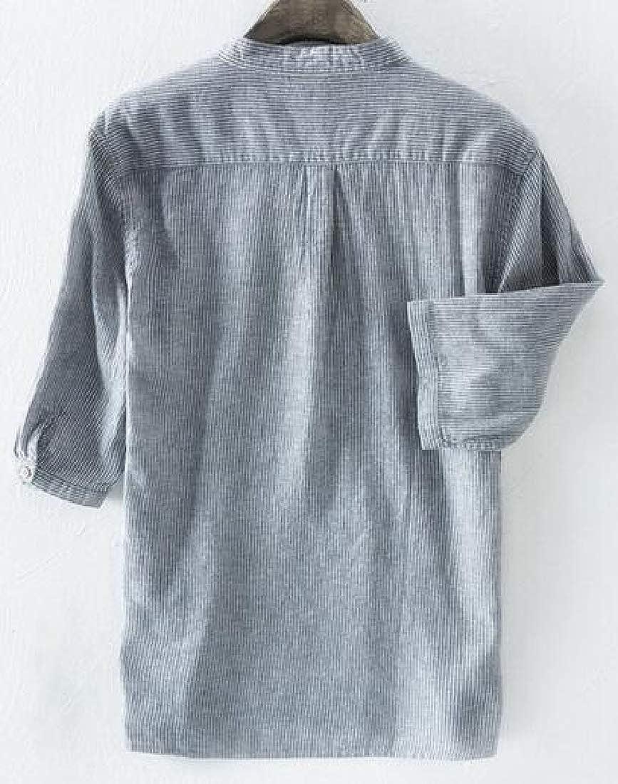 KLJR Men Plus Size Stripe Print Summer Casual 1//2 Sleeve Cotton Dress Henley Shirts