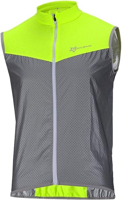 ROCKBROS Chaleco Reflectante para Ciclismo Transpirable Corto Resistente al Viento Cortavientos Alta Visivilidad para Running Deportes al Aire Libre para Hombre y Mujer: Amazon.es: Deportes y aire libre
