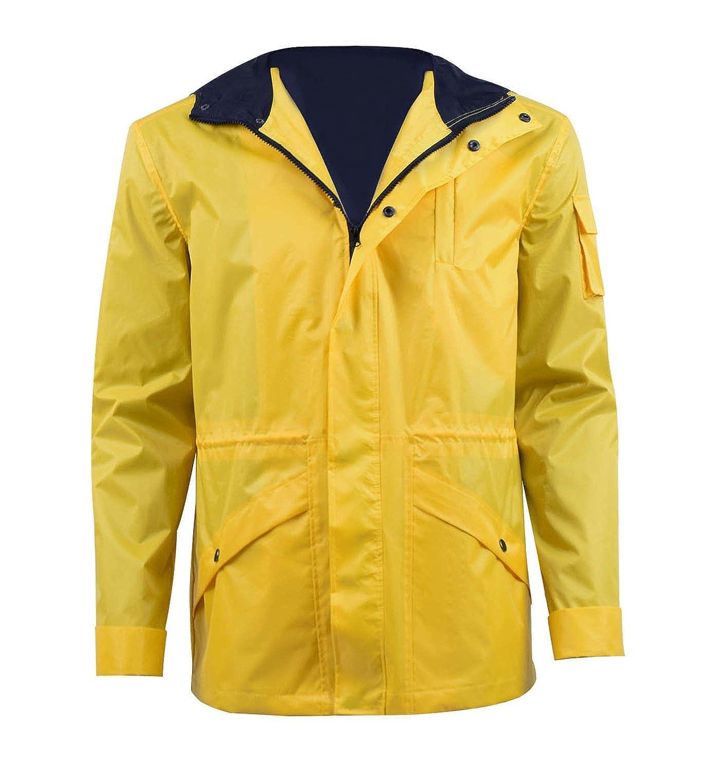 Unbekannt Herren Outdoor Regenjacke Regenmantel Jacke Wasserdicht Gelb