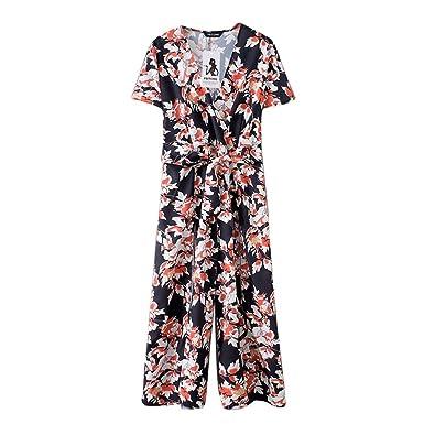 ff28da86f96 TEBAISE Printemps-été vêtements personnalisés Femmes Floral Print en  Mousseline de Soie Longues Combinaisons - col en V Jambe Large Taille Haute  Barboteuse  ...