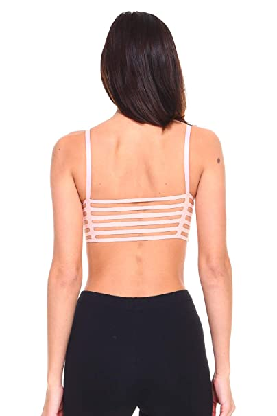 05a104ace2 I Fashion Women s Sexy Scoop Neck Strappy Back Bralette Beige at ...