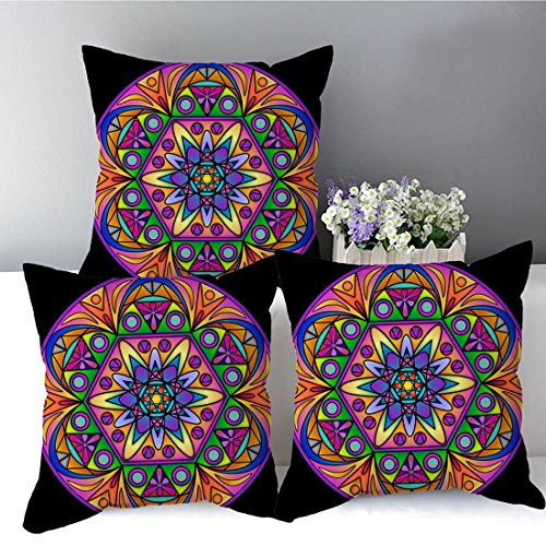 Rangoli pattern designer cushion cover with filler (16x16) by Aart Store