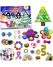 AISEN Adventskalender Pop It Kerstmis, 24 stuks, Fidget Toys, adventskalender voor Kerstmis, speelgoed, anti-stress, sensory Toys Countdown, 24 dagen