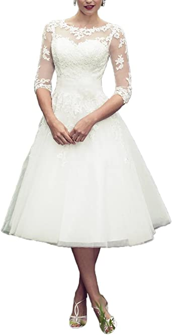 Abaowedding Long Sleeves Lace Short Tea Length Wedding Dress Gown At Amazon Women S Clothing Store