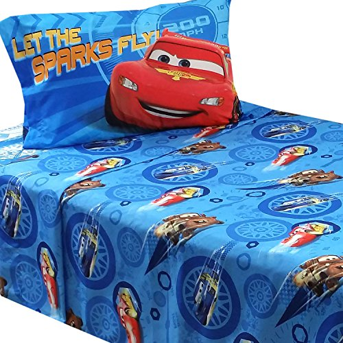 3pc disney cars twin bed sheet set lightning mcqueen city