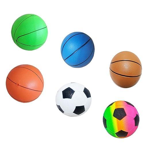 Bola inflable del niño Juega baloncesto elástico de la bola   fútbol- Colorido  Amazon.es  Juguetes y juegos c639ec171b10e