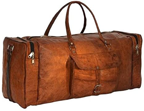 Amazon.com | HLC Leather Duffel Bag for Men and Women Weekend ...