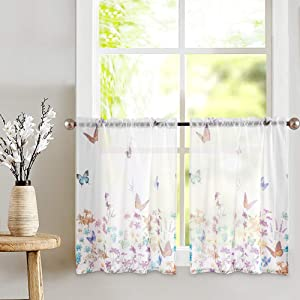 Sheer Tiers Curtains with Pattern Curtain Drapes for Bathroom Rod Pocket Kitchen Curtain 36 inch Grey on White 1 Pair