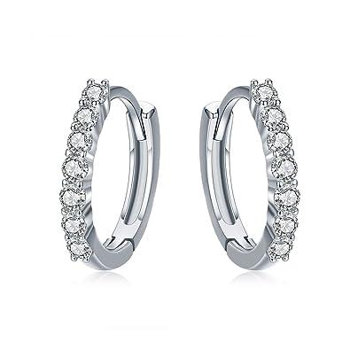 9ee31a0cf IminiJewelry Dainty Cubic Zirconia Small Huggie Hoop Earrings for Women  Teen Girls Sterling Silver White Gold