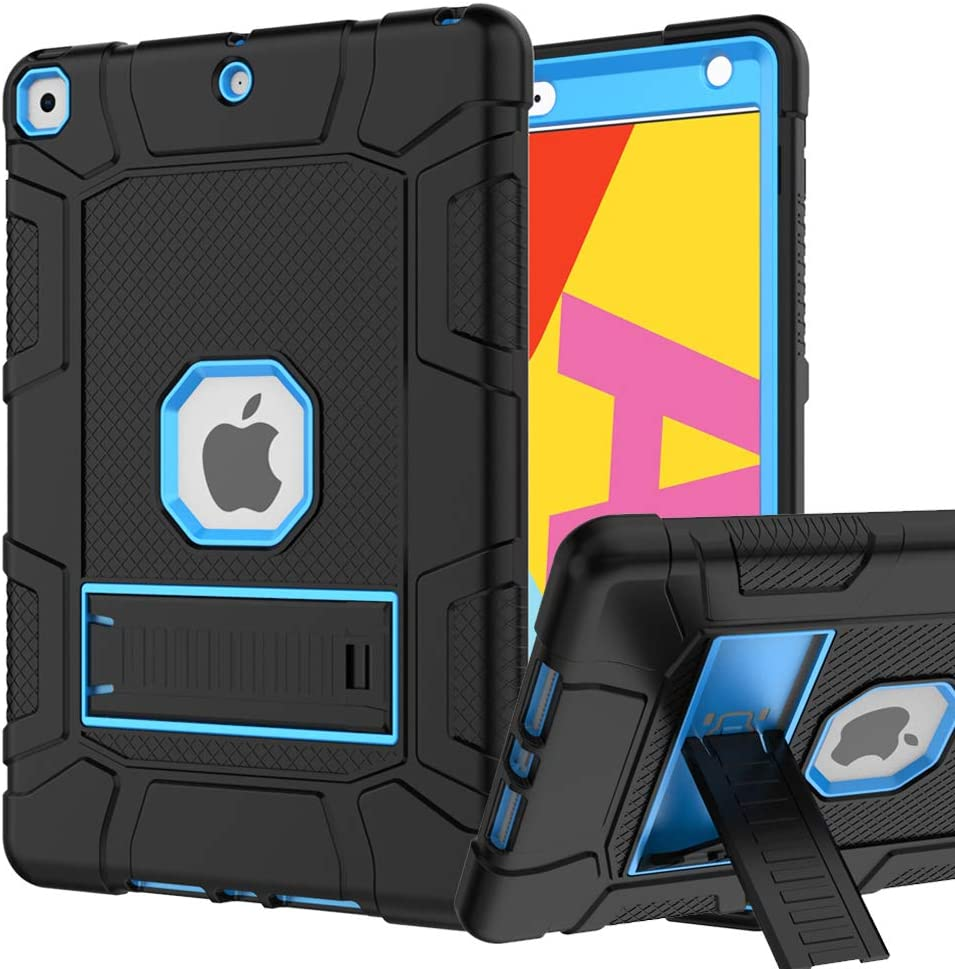 iPad 7th Generation Case, iPad 10.2 2019 Case, Hybrid Shockproof Rugged Drop Protection Cover Built with Kickstandfor iPad 10.2 inch 7th Generation A2197 / A2198 / A2200 2019 Release (Black+Blue)