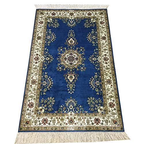 Yilong 2.5' x 4' Blue Handmade Persian Qum Silk Rug Oriental Carpet for Bedroom
