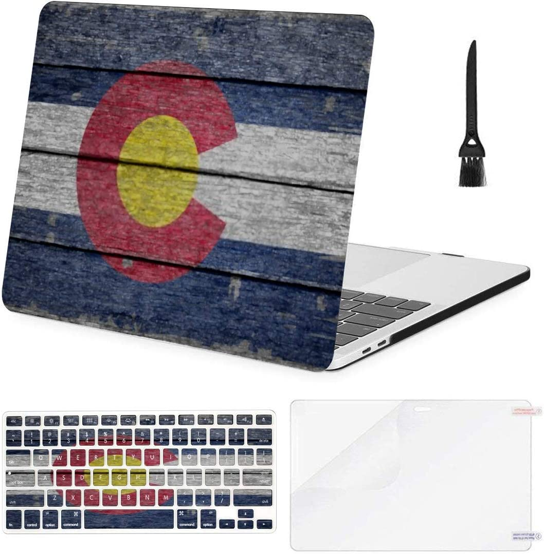 MacBook Pro Case Colorado Flag On Old Wood Texture MacBook Air11 Air13 Case MacBook Pro13 Pro15 Plastic Case Keyboard Cover & Screen Protector & Keyboard Cleaning Brushreen Protector & Cleani