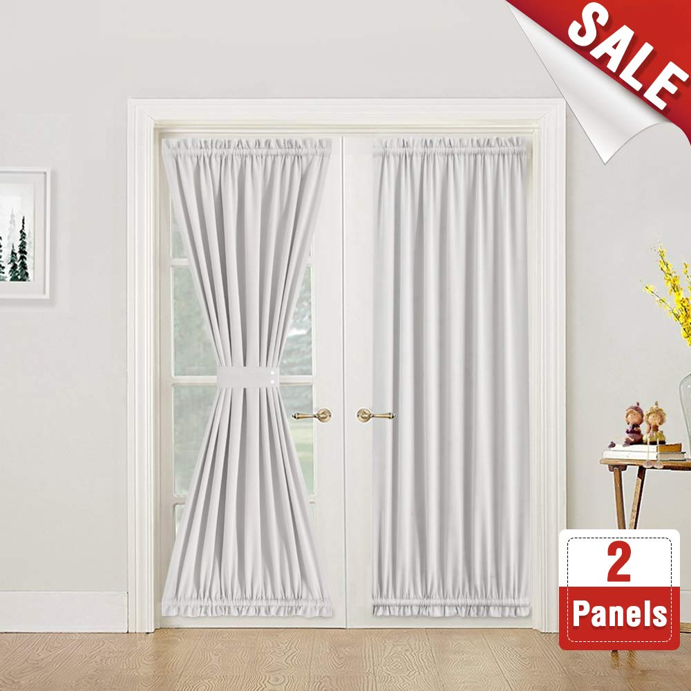 Tie Back Included French Door Curtains 72 Inches Blackout French Door Curtain Panels Room Darkening French Door Panels for Glass Door Plum CKNY HOME FAHSION JCBLCFDP2-5472C01 1 Pair
