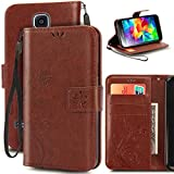 S5 Mini Case, Korecase Premiun Wallet Leather Credit Card Holder Butterfly Flower Pattern Flip Folio Stand Case for Samsung Galaxy S5 Mini With a Wrist Strap - Brown