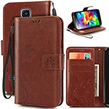 Korecase Samsung S5 Case Premiun Wallet Leather Credit Card Holder Butterfly Flower Pattern Flip Folio Stand Case for Samsung Galaxy S5 NEO With a Wrist Strap - Brown