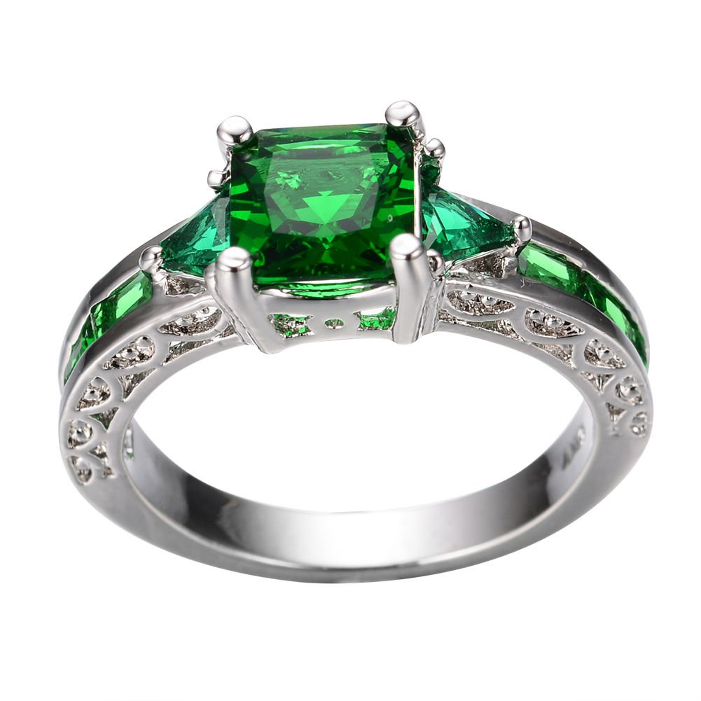 YiYi Operation Green Emerald Cubic Zircon Rings White Gold Plated Man Womens Engagement Gift