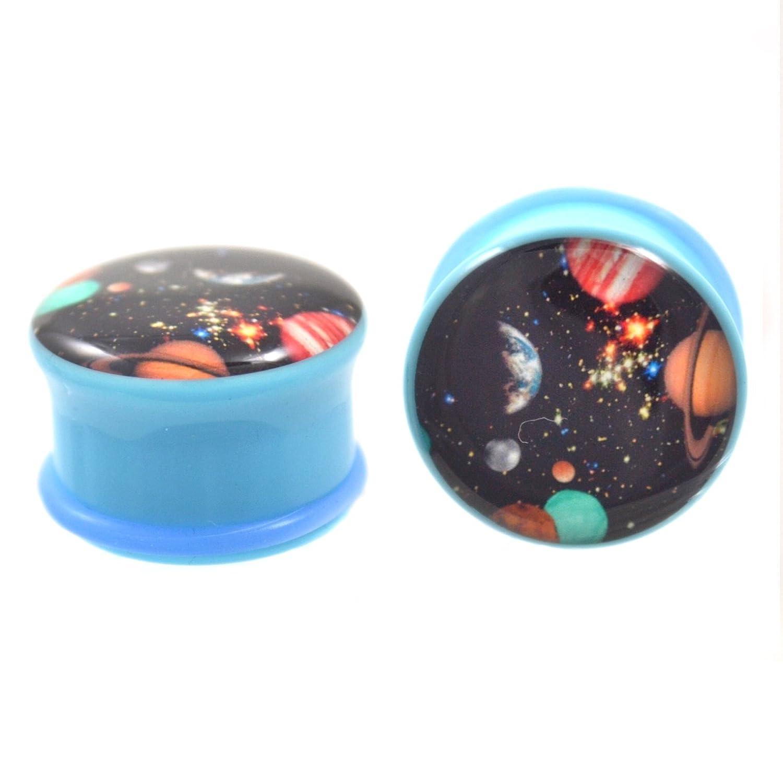 Pair 3//4 19MM Single Flared Blue Galaxy Logo Ear Plugs Lightweight Acrylic Gauges 2