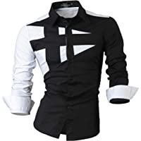 jeansian Camisas de Hombres Mangas Largas Moda Men Shirts Slim Fit Causal Long Sleves Fashion 2028