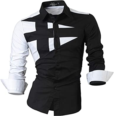 Jeansian De Manga Larga De Los Hombres De Moda Slim Fit Patchwork Camisas Men Fashion Slim Fit Patchwork Long Sleeve Shirt: Amazon.es: Ropa y accesorios