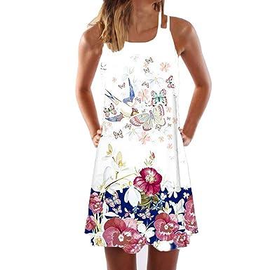 3a977ecd3b Momoxi Abito Lungo Elegante Donna, Donna Casual Senza Maniche Stampa Casual  Beach Vintage Boho Summer Mini Abito Corto 2019 Nuova Moda Affascinante E  ...