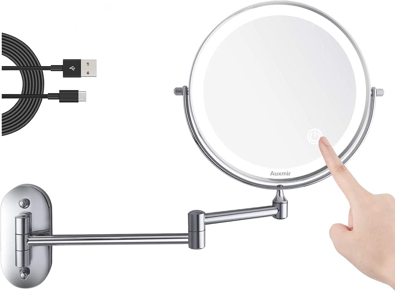 Auxmir Espejo Maquillaje con Luz LED Aumento 1X/10X Espejo Cosmético Iluminoso de Doble Cara, 360 Rotación, Recargable USB, Extensible de Pared para Baño, Tocador, Hotel, Plata