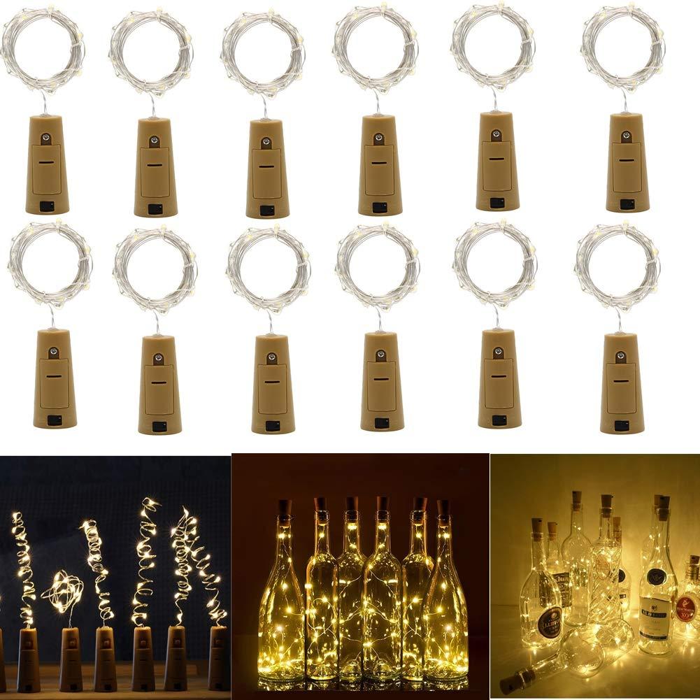 12 x LED Flaschen-Licht Cork Form, 200CM 20 Mini LED Lichterketten Warm weiß, Silberdraht, LED Nacht Licht Weinflasche für Flasche DIY Hochzeit Party romantische Deko, batteriebetriebene [Energieklasse A+] WOWEWA