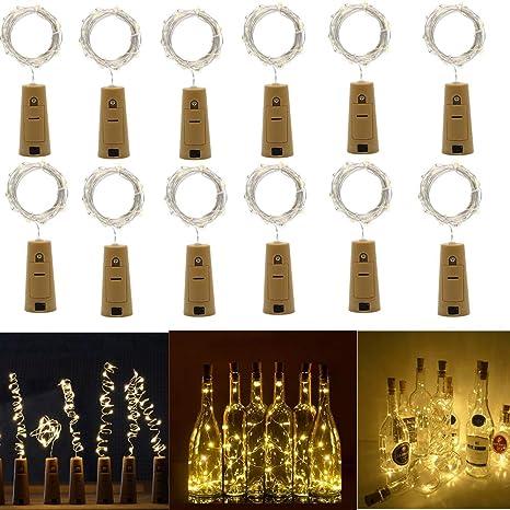 12X Botella de luz,Iluminación Decorativa,Blanco cálido,200CM 20 Micro LEDs Luces