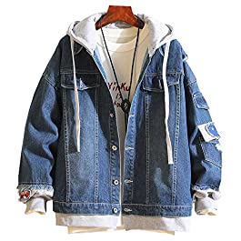 Men's Denim Jacket with Hoodie with Patches Oversized