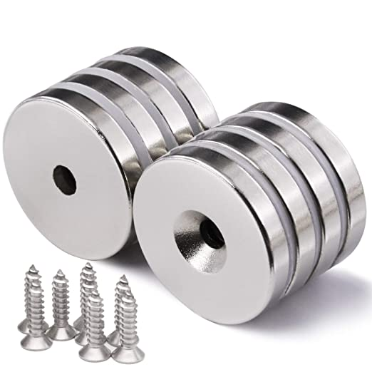 """Steel Cups For 3//8/"""" Rare Earth Magnets 10pc w// #4 x 1//2/"""" Screws"""