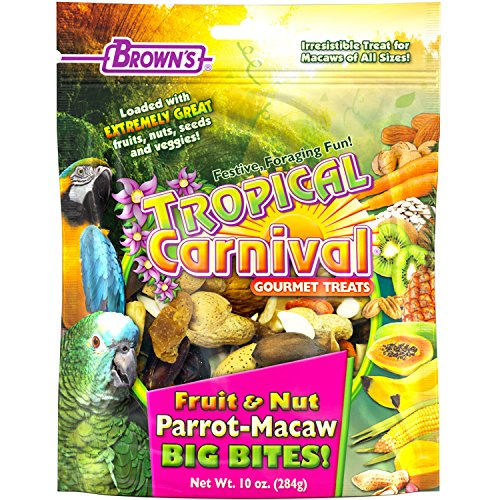 - F.M. Brown'S Tropical Carnival Fruit & Nut Parrot-Macaw Big Bites! 10-Oz Bag - Foraging Treat With Fruits, Veggies, And In-Shell Nuts