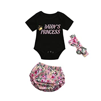 4b17942d7eb9 Amazon.com  FEITONG 3pcs Newborn Toddler Baby Girls Letter Romper ...