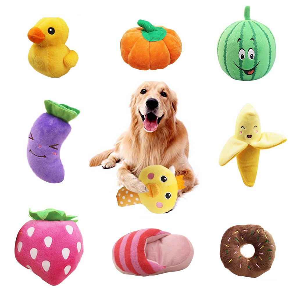 WSXUS Small Plush Dog Toys Set, Fruit and Vegetable Plush Squeaky Dog Toys, 9 Pack Chew Pet Toys for Puppies and Small Medium Pets