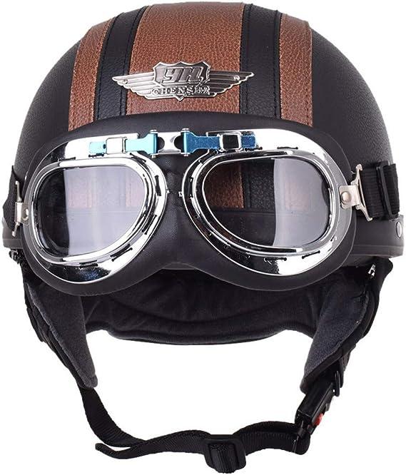 Ger Gisntips Retro Piloto Cuero Casco Motocicleta Cascos Aviador Cascos Moto Vintage Chopper Cruiser Moto Brown Smoke Xl Amazon Es Deportes Y Aire Libre