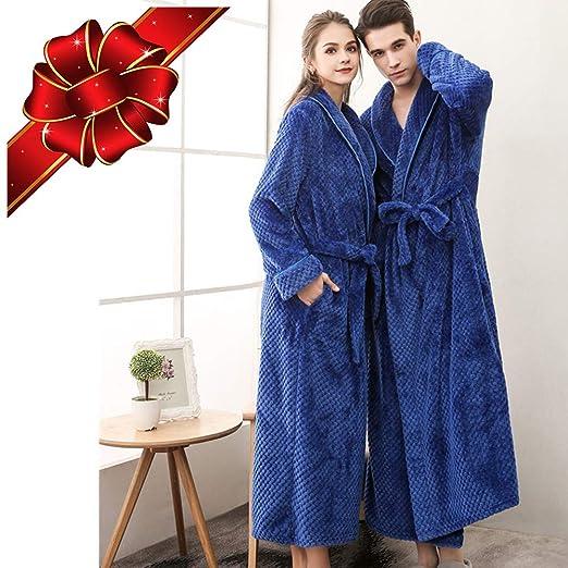 Robes for Women Plus Size Man Bathrobe Full Length Plush Soft Fleece  Sleepwear (Blue 051a0f520