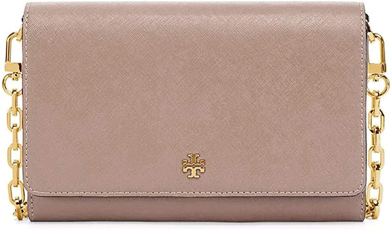 Tory Burch Women's 52899 Emerson Chain Wallet Crossgrain Leather Small Shoulder Handbag French Grey