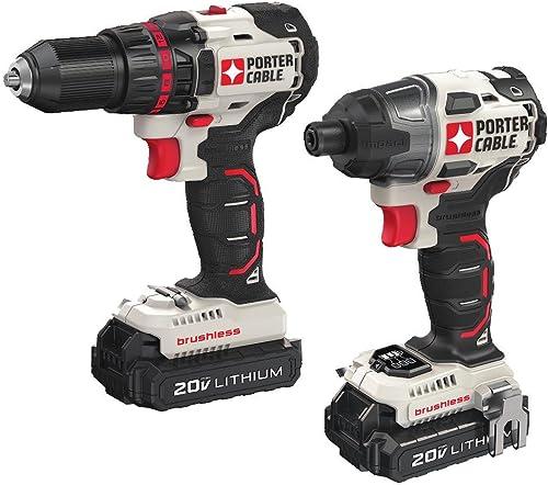 PORTER-CABLE 20V MAX Cordless Drill Combo Kit, Brushless, 2-Tool PCCK618L2