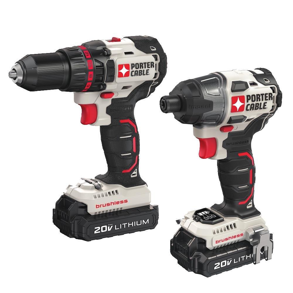 PORTER CABLE PCCK618L2 20V MAX 2 Tool Brushless Lithium Drill Impact Driver Combo Kit