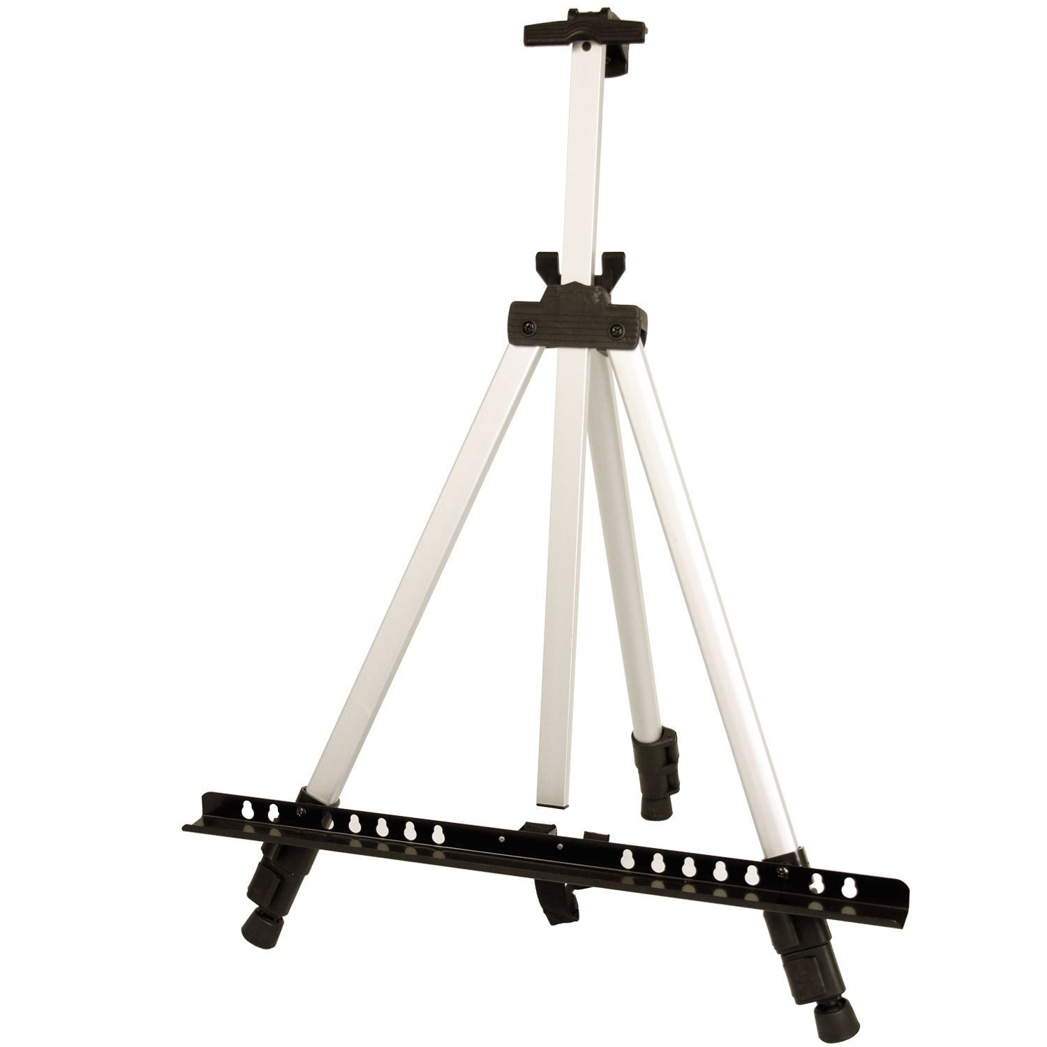 10-Easels US Art Supply Silver 65inch Tall Lightweight Aluminum Field Floor Table Easel with Bag