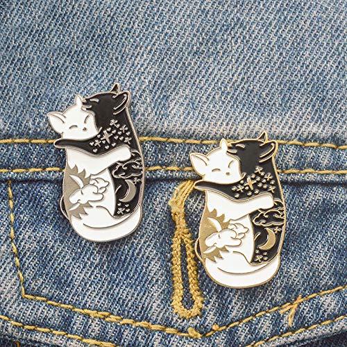 Golden Cat Broche De Bande Dessin/ée /Émail Banni/ère Bouton Pin Bijoux Femmes Creative Pr/ésent V/êtements V/êtements Sacs Ornement R/étro Broches KDSANSO Animaux Pins Badges Double Chat