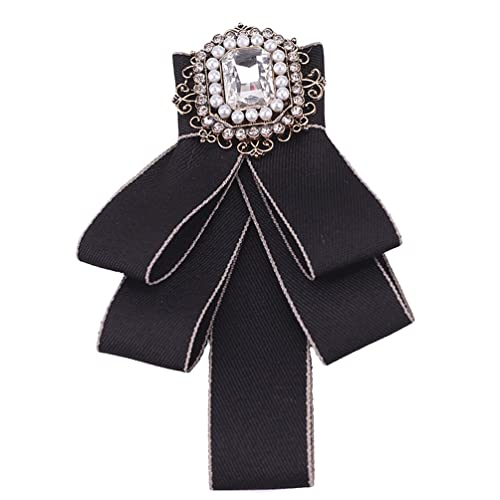 dd775ee2022 ZAKIA Crystal Rhinestone Bowknot Brooch Neck Bow Tie Collar Pins Corsage  for Wedding Party (Black