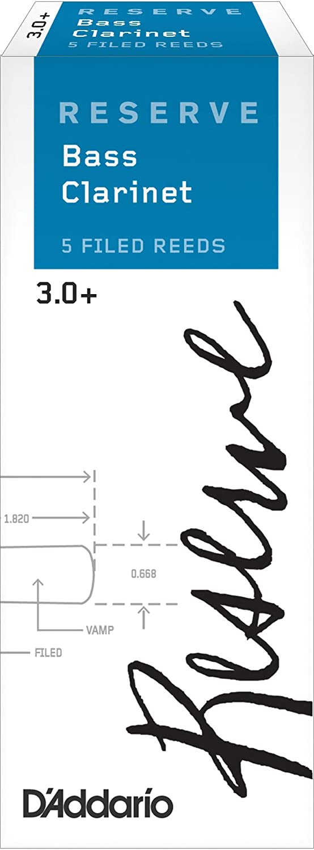 D'Addario Reserve Bass Clarinet Reeds, Strength 3.5+, 5-pack D'Addario &Co. Inc DER05355